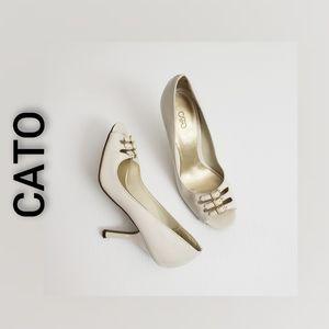 Cato Shiny Open Toe Heel Shoes Cream Size  7